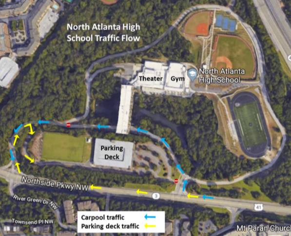 Atlanta Map Traffic.Parking Driving Information North Atlanta High School Parent